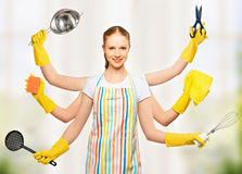 Concept idea. omnipotent universal woman housewife with many han Royalty Free Stock Image