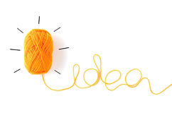 Concept idea roll yarn isolate on white. Background Royalty Free Stock Image