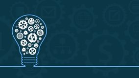 Concept of idea and solution. Light bulb outline with gears, concept of idea, think and solution, copy space vector illustration