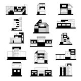 Concept and ideas of the buildings. Set of different buildings. Architecture variations facades. Black and white illustration. Vec Stock Photos