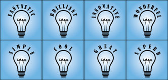 Concept of ideas with most used adjectives. Ideas concept in with different commonly used adjectives Stock Images