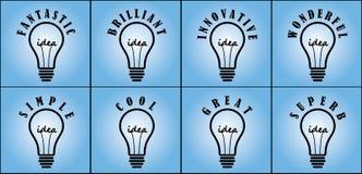 Concept ideeën binnen met verschillende algemeen gebruikte bijvoeglijke naamwoorden Stock Afbeeldingen