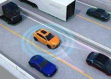 Concept illustration for autonomous car Royalty Free Stock Image