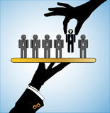 Concept Illustration of Best Choice in selecting t. Concept Illustration of Best Choice: Row of candidates or employers or people with question marks in their Royalty Free Stock Images