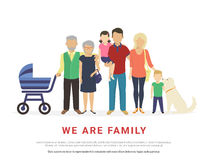 Concept illustration of big family portrait Royalty Free Stock Photography