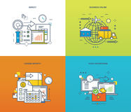 Concept of illustration - career growth, polls, video advertising, internet business. Concept of surveys and polls, online business and video advertising, career Stock Photography