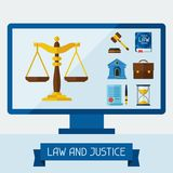 Concept illustration with computer and law icons Royalty Free Stock Photography