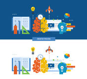 Concept of illustration - creative process, thought, idea, inspiration. Stock Photography