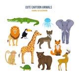 Concept of illustration - cute set cartoon animals. Stock Image
