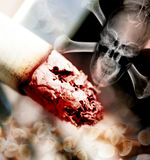 Concept illustration of the danger of smoking. Tobacco Royalty Free Stock Images