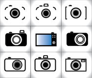 Concept Illustration of different trendy Camera icons Royalty Free Stock Image