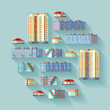 Concept illustration with the dwelling buildings Stock Image