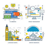 The concept of illustration - e-commerce, project management, language school, insurance. The kit contains illustrations for e-commerce, project management and Stock Images