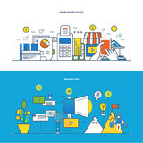 Concept of illustration - finance and payments methods, promotion, information technology. Royalty Free Stock Photos