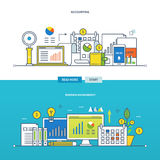 Concept of illustration - financial management and reporting, business . Concept of financial management and reporting, business management. Color Line icons Royalty Free Stock Image