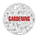 Concept illustration of gardening. Vector modern line style illustration of garden work tools. Secateurs, watering can, shovel, rake, garden cart, garden hose Royalty Free Stock Images