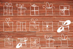 Concept Illustration Of Gifts, Copy Space, Wooden Background Stock Images
