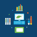 Concept of illustration - graphic design,  training and implementation tools. Stock Photo