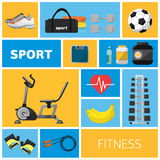 Concept illustration of the gym, sport equipment Royalty Free Stock Photo