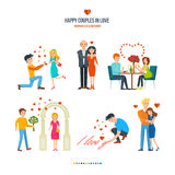 Concept illustration - happy couples in variety of settings and situations Stock Images