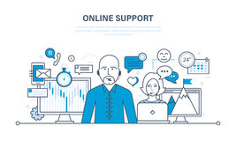Concept of illustration - hour technical support, consultation and communication. Hour technical support, call center, consultation and communication Royalty Free Stock Photography