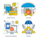 Concept illustration - insurance, types of , finance and payment options. Stock Photo