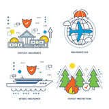 Concept of illustration - insurance, types , protection forests. The kit contains illustrations on the theme of insurance and types of insurance, protection of Royalty Free Stock Photo
