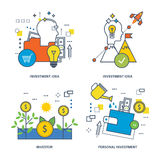 Concept illustration - investing, instruments and types of investment, the investor. The kit contains illustrations on economic issues - investment, instruments Stock Photo
