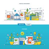 Concept illustration - investments , the financial management. Concept of investment and types of investment, finance and financial management. Color Line icons Royalty Free Stock Images