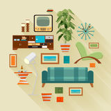 Concept illustration with the living room stuff Stock Photos
