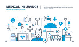 Concept of illustration - medical insurance, healthcare,  care, first aid. Modern medicine and technology, medical care, healthcare and medical insurance Stock Photo