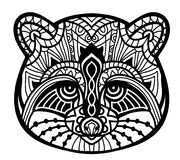 Concept illustration. Monochrome ink drawing. Line art design. The head raccoon in the patterns. Royalty Free Stock Image