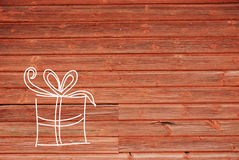Concept Illustration Of One Gift, Copy Space, Wooden Background Stock Image