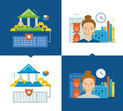 Concept of illustration - online banking, modern education, schedule and workflow. Stock Photos