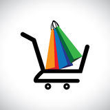 Concept illustration - online shopping cart & bags Stock Photo