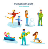 Concept of illustration - people and winter sports, entertainment, recreation. Stock Photography