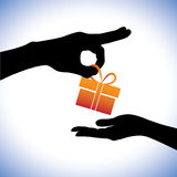 Concept illustration of person giving gift package. To the receiver. This graphic represents gifting times like christmas(xmas), birthday, anniversaries and Stock Photo