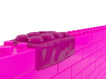 Concept illustration of the problem of overweight. Wall made of pink toy plastic building blocks with one fat bloated element. Concept illustration of the Stock Image