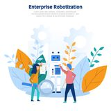 Concept illustration production robotization, technical revolution, scientific progress, programming, online settings, training, a royalty free stock images