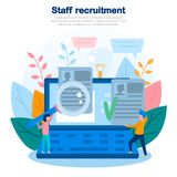 Concept illustration of recruitment, personnel search, HR management, team, qualifications, company employees, data analysis. Colo royalty free stock image