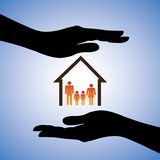 Concept illustration of safety of house and family. The graphic contains symbols of home/residence and parents/children covered by female hand silhouettes Stock Photos