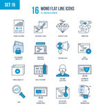 Concept of illustration - seo and data safety, development, technology. Mono Flat Line icons set of seo and data safety, development, technology, analytics Stock Photo