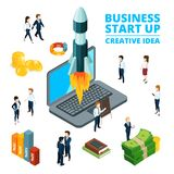 Concept illustration of starting business. Startup visualization. 3d isometric pictures vector illustration