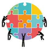 Team cooperation and connection. A concept illustration for teamwork and co-operation of people putting together puzzle pieces Royalty Free Stock Photo