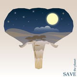 Concept illustration on the theme of protection of nature and animals with night Savannah view in silhouette of elephant head Royalty Free Stock Image