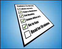 Concept Illustration of to daily or day today do list or task list - perspective view Royalty Free Stock Image