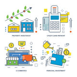 Concept illustration - types of investments, e-commerce and credit payment card Royalty Free Stock Images