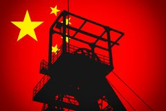 Free Concept Illustration With Chinese Flag In The Background And Coal Mine Ferris Wheel SIlhouette In The Foreground Stock Photo - 156787030