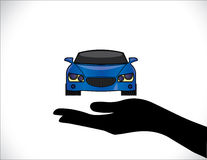 Concept Illustrations of a Car Insurance or Car Protection using Hand Silhouettes beautiful bright blue Car Royalty Free Stock Photos