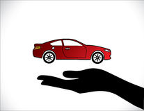 Concept Illustrations of a Car Insurance or Car Protection using Hand Silhouettes and beautiful bright red Car Royalty Free Stock Photo